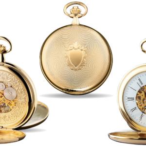 Taschenuhr mit sichtbarem Uhrwerk vergoldet